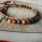 WRAP TAN LEATHER BRACELET MULTICOLOR PICASSO Jasper Beads