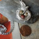 BIRD NEST NECKLACE with MAMA Bird Silver Picasso Jasper beads