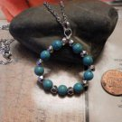 TURQUOISE Circle NECKLACE  Silver