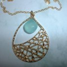 PERUVIAN CHALCEDONY TEARDROP GOLD NECKLACE