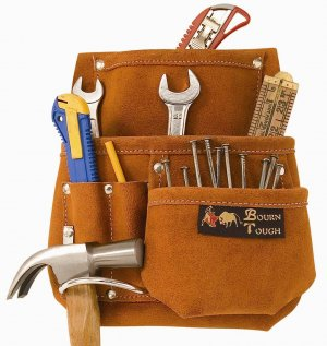6 Pocket Suede Leather Belt Tool Pouch Bag