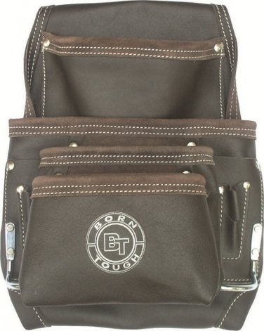 10 Pocket Oil Tanned Leather Tool Belt Pouch Bag