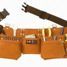 9 Pocket Suede Leather Contractors Tool Pouch Bag Belt