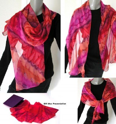 Silk Chiffon Shawl, Custom Order with Your Own Colors, lead time 4 weeks
