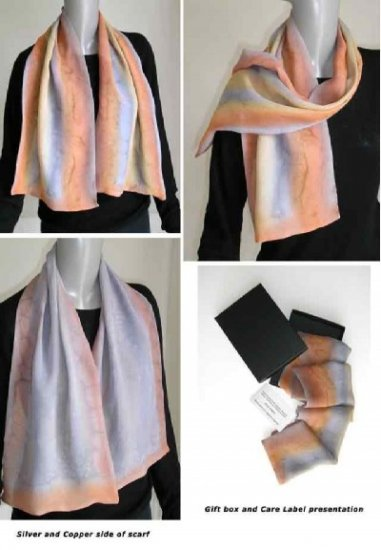 Hand Painted Silk Scarf, Chiffon, Silver Copper Gold, Reversible