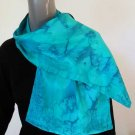 Lagoon Turquoise Silk Scarf, Reversible, One of a Kind by JOSSIANI