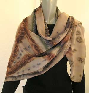 Large Square Scarf, Hand Painted Silk Scarf, Earth Tones, One of a Kind by Jossiani, Made to Order.