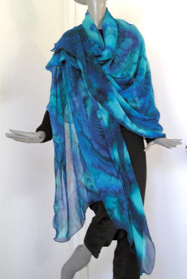 Hand Painted Silk Chiffon Shawl, Wrap - Blue, Lapis, Emerald, Turquoise