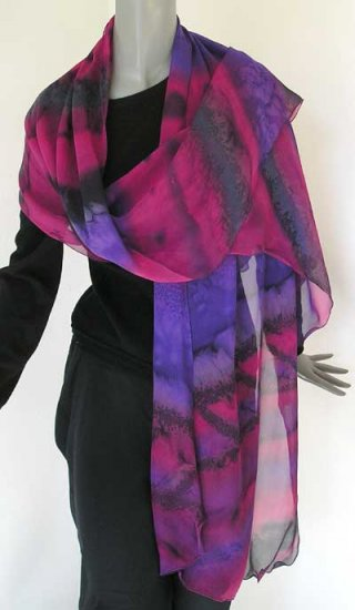 Hand Painted Silk Chiffon Shawl Purple, Pink, Magenta, Amethyst by JOSSIANI