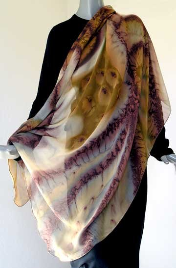 Earth Tones Shawl Wrap, Unique Hand Painted Silk Chiffon, Hand Dyed by JOSSIANI, Made to Order.