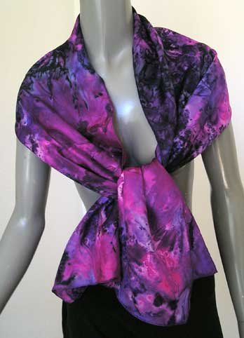 SPECIAL ORDER ONLY  - Hand Painted Silk Scarf, Purple, Pink, Grey, Amethyst, by JOSSIANI