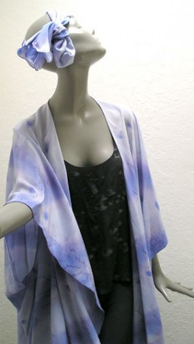 Scarf & Wrap, Soft Coat Shawl Lavender, Amethyst painted Silk Crepe - Art on Silk by JOSSIANI