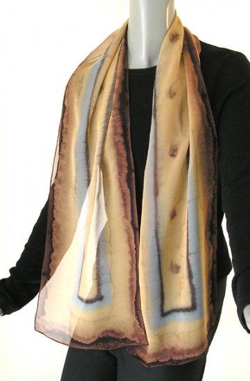 Brush Dyed Painted Silk Long Chiffon Wrap Scarf by Jossiani, Gold Chocolate Tan Cornelian Grey