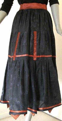 Unique Gipsy Skirt Black Grey Painted Silk, Burnt Orange Satin Belt Trims Ribbons