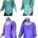 Brush Dyed Hand Painted Silk, Purple Sage Moss Green Reversible Blouse