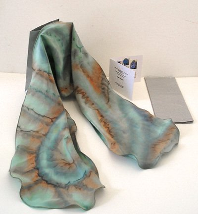 JOSSIANI's Brush Dyed Moss Aqua Jade, Silk Crepe Hand Painted Scarf, Signed Original, Made to Order.