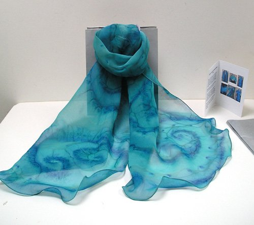 Hand Dyed Silk Chiffon Shawl by Jossiani, Made to Order.
