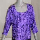 Purple Amethyst Hand Painted Silk Blouse, Abstract, size 8/10, Original by JOSSIANI