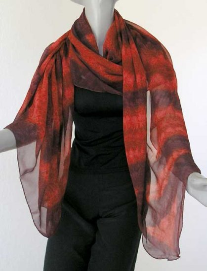 Unique Hand Painted Silk Chiffon Shawl Wrap, Venetian Red, Maroon, Burgundy - Hand Dyed by JOSSIANI