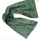 Unique Hand Painted Silk Scarf by JOSSIANI, Unisex, Dark Seagreen, Moss and Asparagus Accents,