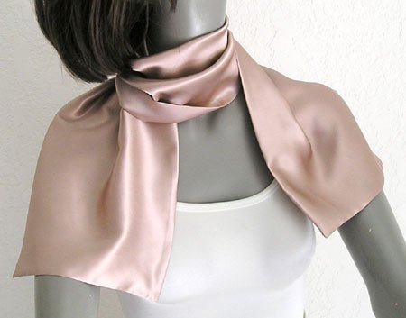 Rose Dust Silk Scarf,  Double Layer Pure Charmeuse Silk, ARTINSILK