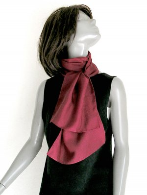 Red Silk Scarf, Hand Dyed Dark Solid Color, UNISEX