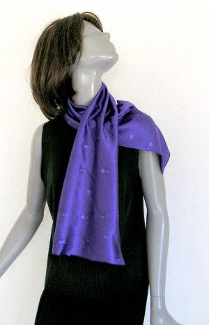 Unique Long Hand Painted Silk Scarf, Purple, Black, JOSSIANI