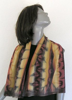 UNIQUE Hand Painted Silk Crepe Scarf, Chocolate Browns, by JOSSIANI