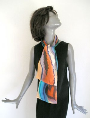 UNIQUE SILK SCARF, Hand Painted Charmeuse  Multicolor Scarf, by JOSSIANI