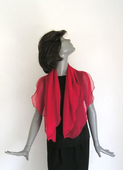 True Red Silk Scarf, Chiffon Coverup, Sheer Red Shoulder Wrap, Artisan Handmade, Ready to Ship.