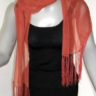 Rust Orange Scarf, Persimmon Red, Tangerine Scarf, Burnt Orange, Silk Chiffon, fringe.