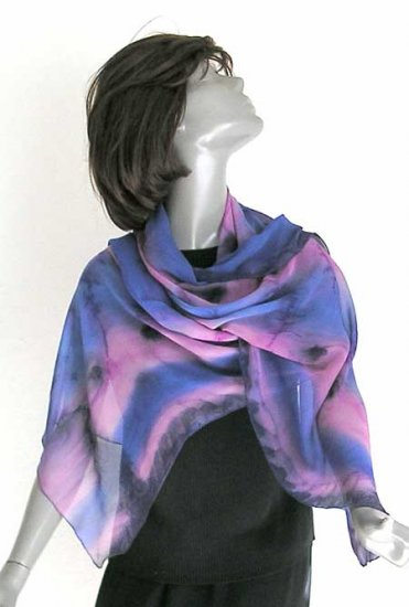 Hand Painted Silk Chiffon Shawl Silver Rose Lavender, by JOSSIANI