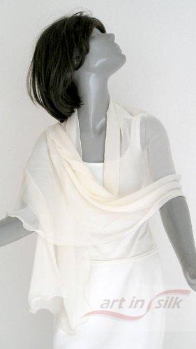 "Ivory Silk Chiffon Bridal Shawl Unique Wrap Individually Hand Dyed 21"" x 60"", Petite."