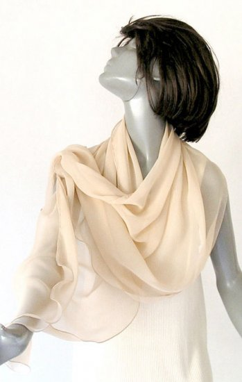 "PINK CHAMPAGNE Unique Stole, Silk Chiffon Shawl Wrap, Evening Stole 65"" Long"
