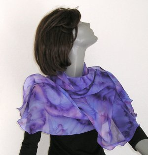 Large Hand Painted Silk Scarf Colorful Lilac, Lavender, Violet, artist JOSSIANI, Made to Order.