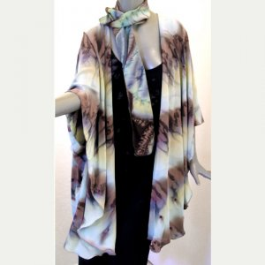 Shawl Wrap Coat Hand Painted Crepe - Earth tones - Art on Silk by JOSSIANI
