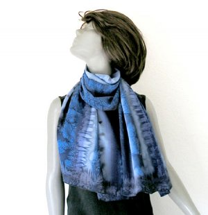 Large Blue Scarf, Hand Painted Silk Small Shawl, Blues Greys Black, Unique by JOSSIANI