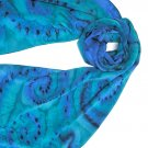 Teal Blue Scarf,  Hand Painted Silk Crepe Large Scarf, SPECIAL ORDERS ONLY - JOSSIANI