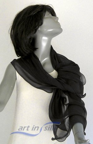 "Black Chiffon Large Scarf, 16"" x 60"" Pure Mulberry Small Wrap."