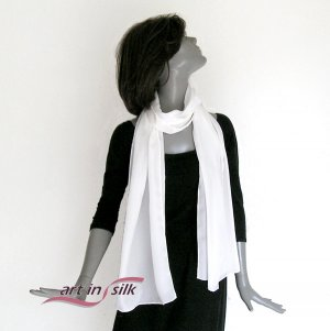 White Silk Crepe Scarf Off White 100% Silk, Hand Hemmed Small Wrap.