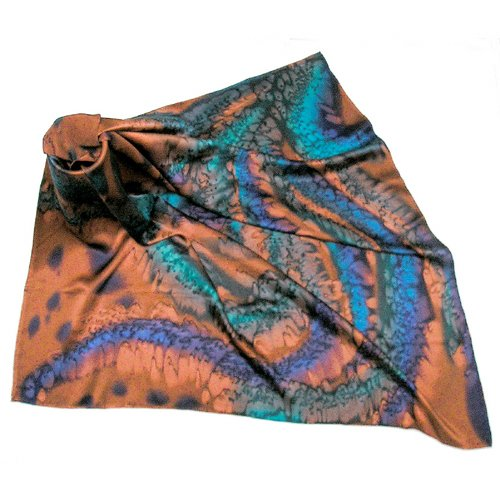 Hand Painted Silk Charmeuse Square Scarf Rust, Iron, Majolica Blue, by Jossiani