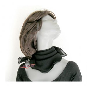 Black Silk Small Scarf, Small Square Neck  Scarflette, Chiffon 21&quot; x 21&quot;.
