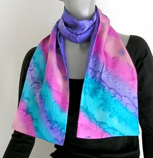 Hand Painted Silk Scarf,  Purple Pink, Unique Signed by JOSSIANI