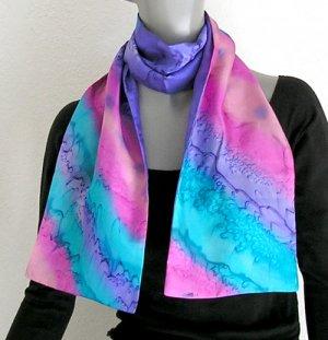 Hand Painted Silk Scarf Purple Pink Teal, Unique JOSSIANI silk creation