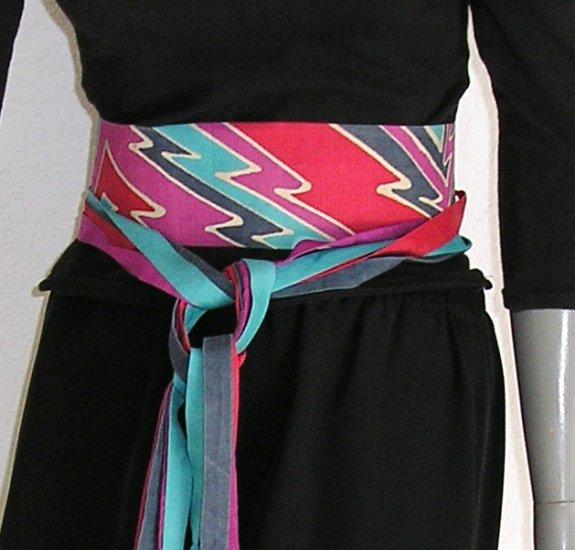 Sash Belt, Cummerbund, Multicolor Obi, Unique Hand Painted Silk, JOSSIANI.