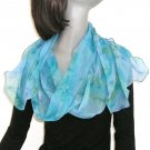 One of a Kind Scarf Shawl, Aqua, Cobalt Azure Blue, Hand Painted Silk Chiffon, JOSSIANI