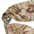 Cedar Beige Brown Scarf, with  Truffle Camel Earth, Hand Painted Silk, JOSSIANI
