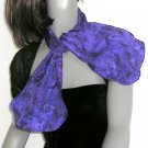 Indigo Purple Neck Scarf, Hand Painted Silk, Ultramarine Blue Accents.