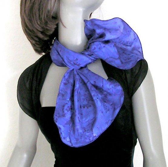 Blue Indigo Ultramarine Neck Scarf, Scarflette, Hand Painted Silk