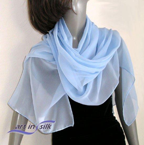 Light Blue Wrap, Sky Powder Azure Silk Chiffon Shawl, Bridal Wrap, Hand Hemmed